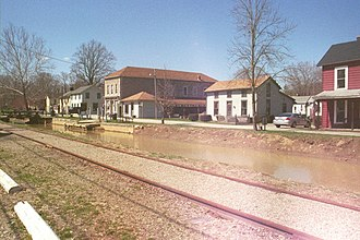 Metamora, Indiana - Metamora, with railroad and canal in the foreground