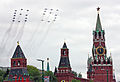MiG-29SMT & Su-25 formed 65 over Moscow Kremlin (4711830897).jpg