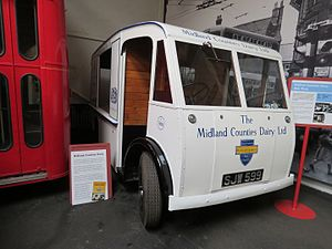 Midland Electric Vehicles - A Midland Electric Vehicles milk float, built in 1956, and operated by Midland Counties Dairy. It is preserved at The Transport Museum, Wythall.