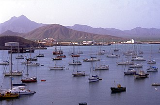 Yachts in Porto Grande, Mindelo, on the island of Sao Vicente. Tourism is a growing source of income on the islands. Mindelo portogrande.jpg