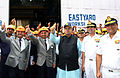 Minister of Defence Arun Jaitley with CONS RK Dhowan, Commander-in-Chief Western Naval Command and other Mazagaon Dock officials during the review of the construction of Scorpene class submarines.jpg