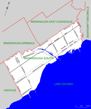 Mississauga—Lakeshore - Map of Mississauga South