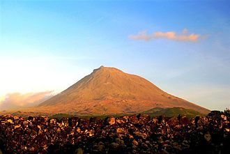 Mount Pico - A view of the stratovolcano of Pico at sunset