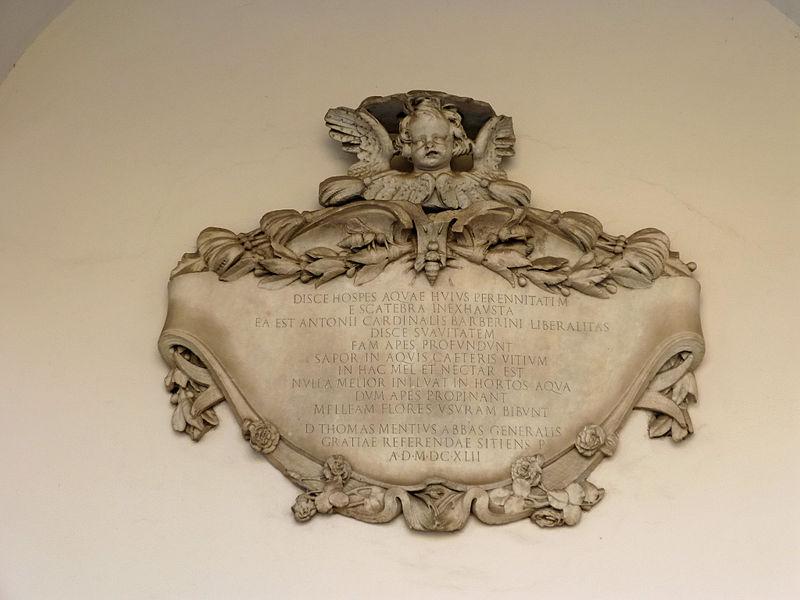 Monti - Ingegneria chiostro s P in Vincoli - Disce Hospes Aquae huius Perennitatem 1642 P1030229.jpg