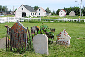 English: Historic HBC buildings and cemetery i...