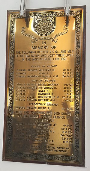 Dorset Regiment - Memorial for the Officers and Men of the Dorset Regiment, who lost their lives in the Moplah Revolt, at the St. Mark's Cathedral, Bangalore