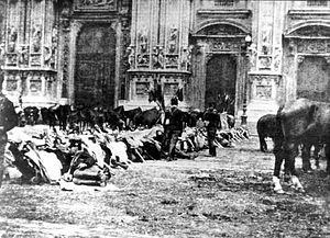 Bava-Beccaris massacre - Piazza del Duomo, Milan, 1898. Troops deployed against demonstrators