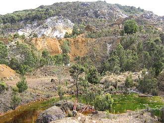 Mount Bischoff - Former open cut mine at Mount Bischoff (2006)