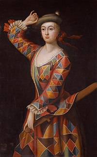Mrs Hester Booth, nee Santlow (circa 1690–1773) dressed as a harlequin, attributed to John Ellys.jpg