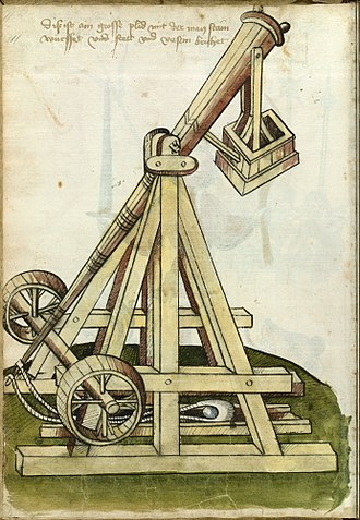 Siege of Berwick (1333) - A pen and ink sketch of a counterweight trebuchet