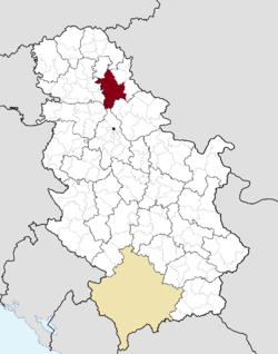 Location o the municipality o Zrenjanin athin Serbie