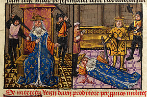 Darius III - Murder of Darius and Alexander at the side of the dying king depicted in a 15th-century manuscript