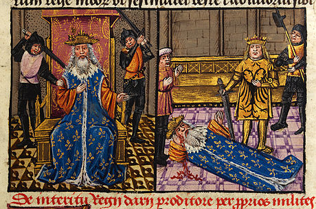 Murder of Darius and Alexander at the side of the dying king depicted in a 15th-century manuscript Murder of Darius and Alexander at the side of the dying king.jpg