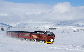 Nordland Line - An NSB Di 4-hauled train at Saltfjellet