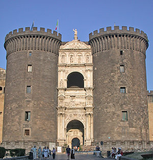 Castel Nuovo - The triumphal arch integrated into the gatehouse.