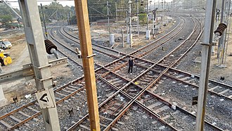 Level junction - North-South, East-West Diamond Crossing,Indian Railways, Nagpur, India