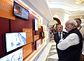 Narendra Modi visits Mini Digital Exhibition accompanied by the Secretary General of the United Nations, Mr. Antonio Guterres at the Mahatma Gandhi International Sanitation Convention (MGISC).JPG