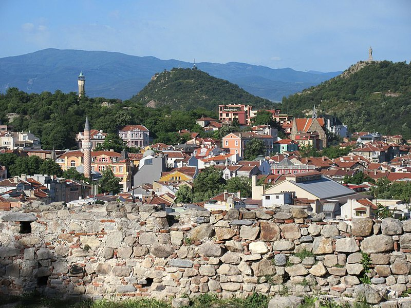 Two of the seven hills of Plovdiv, Bulgaria, are visible from Nebet Tepe, an ancient Thracian fortress.