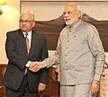 Nepali Foreign Minister Mahendra Bahadur Pandey meets PM Modi.jpg