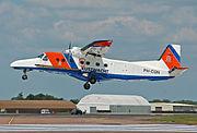 Netherlands Coastguard Dornier 228 arrives RIAT Fairford 10thJuly2014 arp