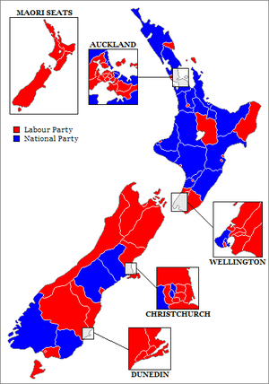 New Zealand general election, 1972 - Map of electorates.