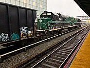 A New York and Atlantic freight train at Jamaica station.