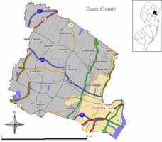 Map of Newark in Essex County