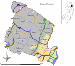 Newark highlighted in a map of Essex County.