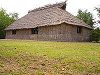 A simple thatched house.