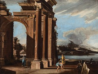 Niccolò Codazzi - Eruption of Vesuvius with architecture and figures