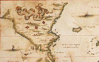 "Dieppe maps - Nicolas Desliens, detail of ""Java la Grande"", 1566."