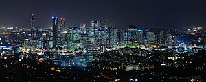Brisbane - Night skyline of Brisbane's central business district from Mount Coot-tha, May 2013