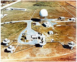 MIM-14 Nike Hercules - The IFC area of an Improved Nike Hercules site mounts its five radars on platforms for a better view. From left to right are the TTR and TRR, HIPAR (large white dome) LOPAR (small dark rectangle in center foreground) and MTR.