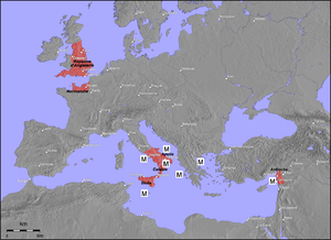 Margaritus of Brindisi - Europe, with 12th-century Norman possessions in color, and M marking points of action of Margaritus of Brindisi