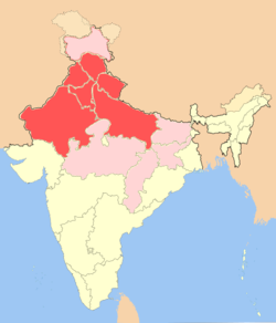 North india simple english wikipedia the free encyclopedia dark red region marks the approximate extent of northern india while the regions marked as light red lies within the sphere of north indian influence gumiabroncs Gallery