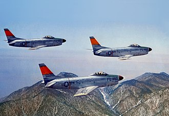 North American F-86D Sabre - The fifth F-86D for the USAF in formation with two other early production aircraft