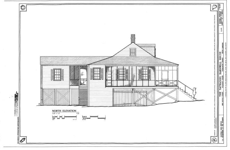 File:North Elevation - Nathaniel Barnwell House, 1023 Middle Street, Sullivans Island, Charleston County, SC HABS SC-875 (sheet 9 of 12).tif