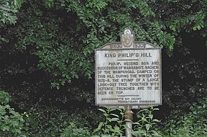 King Philip's Hill - Historic marker describing the hill
