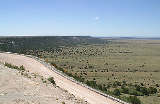 Caprock Escarpment - Northwest escarpment of the Llano Estacado overlooking Alamogordo Valley of Quay and Guadalupe Counties, New Mexico.