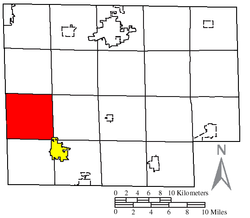 Location of Norwich Township (red) in Huron County, next to the city of Willard (yellow)