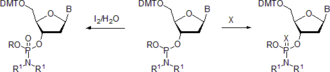Nucleoside phosphoramidite - X = S, Se.