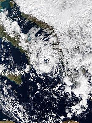 Cyclone Numa - Numa over the Ionian Sea on 18 November, after peak intensity