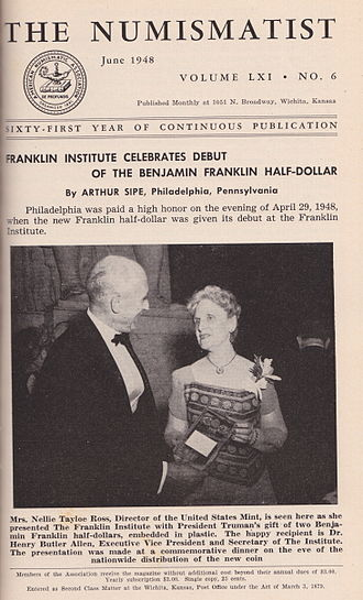 Franklin half dollar - The release of the Franklin half dollar was front page news in the coin collecting world, as seen by the June 1948 The Numismatist.