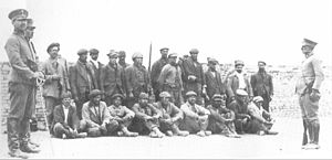 Argentine general election, 1922 - Striking Santa Cruz Province sheep ranch workers, prior to their illegal execution in 1921. Yrigoyen's unwillingness to prosecute these abuses did not prevent his UCR from a second, landslide victory amid an economic boom.