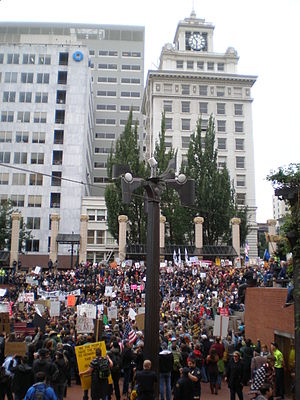 Weather Machine - The sculpture, from the north, during an Occupy Portland protest in 2011