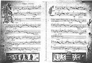 """Missa prolationum - Manuscript page of the first """"Kyrie"""""""