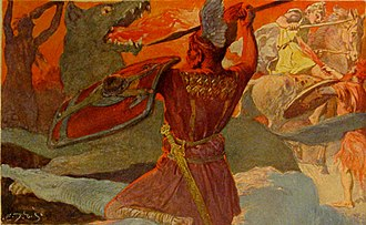 Vígríðr - The god Odin battles the wolf Fenrir while other deities and their combatants fight in the background on the field Vígríðr in an illustration (1905) by Emil Doepler.