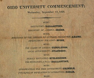 History of Ohio University - A ticket from the commencement of 1828