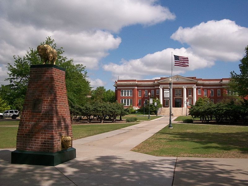 File:Oklahoma Baptist University Campus Oval Bison Monument and Shawnee Hall.jpg