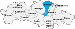 Localisation du district de Svidník dans la région de Prešov (carte interactive)